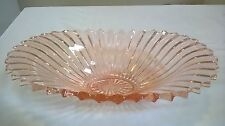 ART DECO GLASS salmon PINK BOWL vintage toothed edge