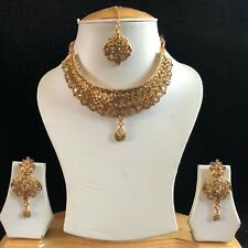 BEIGE GOLD INDIAN MUGHAL KUNDAN JEWELLERY NECKLACE EARRINGS CRYSTAL SET NEW 014