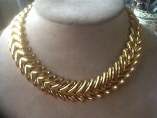 Vintage Signed Rau KLIKIT Gold Tone V shaped Link Necklace snap clasp