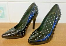 """SIZE 3 BLACK PATEN 4"""""""" HEELS WITH SMALL METAL STUDS/SPIKES ALL OVER, FREE P&P"""