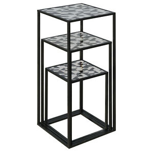 Nest of Three Tall Tables (Set of 3) - Geometric Top