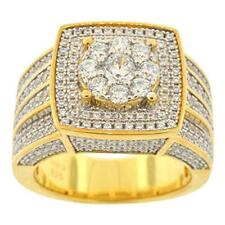 Iced Out Cluster Style Ring New Men's Gold Finish .925 Silver Simulated Diamond