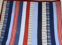 Pottery Barn Kids Patchwork Stripes Twin Quilt Red White Blue Striped Reversible