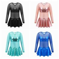 Kids Girls Ballet Dress Long Sleeves Dance Leotards Jumpsuits Ballroom Dancewear