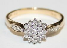 Fancy 9ct Gold Diamond Cluster Ring 0.20cts Size O Bargain