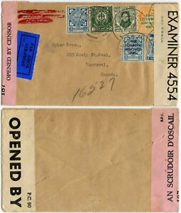IRELAND 1942 WW2 DOUBLE CENSORED to CANADA AIRMAIL MULTI FRANKING inc.RISING SET