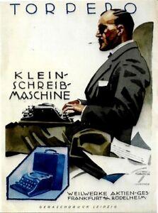 Original vintage poster print TORPEDO TYPEWRITER 1926 Hohlwein