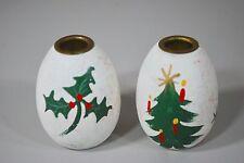 Anne Beate Designs Denmark - Christmas Mini Candle Holder Pair Wooden Egg