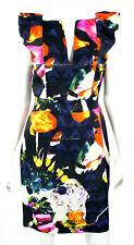 CHRISTIAN LACROIX Multi-Color Floral Linen Blend Cap Sleeve Dress 40