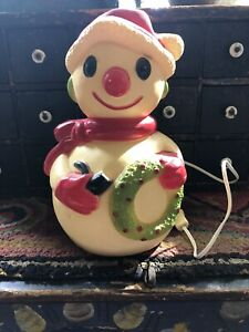 Vintage Union Products Christmas Light -up Blowmold Snowman!