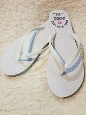NEW Victoria Secret PINK Thong Flip Flop Sandals Sz Medium M White Spring Break