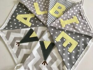 PERSONALISED FABRIC BUNTING New baby.  Grey Yellow Gingham Spots Stars Stripes