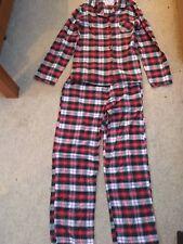 Boux Avenue ladies red black checked Christmas winter cotton pyjamas size 10 vgc