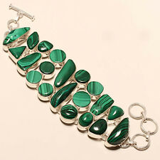 MALACHITE 925 SILVER FASHION JEWELRY BRACELET 7-8""