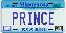 Prince Minnesota Souvenir 1999 License Plate