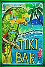 *AMAZON PARROT TIKI BAR* MADE IN HAWAII METAL SIGN 8X12 LUAU HAPPY HOUR AVIARY