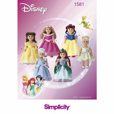 """Simplicity SEWING PATTERN 1581 Disney Princess Costumes For 18""""/45.5cm Dolls"""