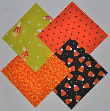 """Funky Candy Corn 4"""" Fabric Squares Charm Pack 100% cotton, 40 pieces"""