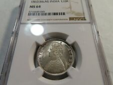 I226 India British 1862(B&M) 1/2 Rupee NGC MS-64