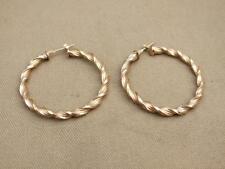 """PAIR HALLMARKED 9ct GOLD TWISTED HOOP EARRINGS  2.44 grams SIZE 1 1/2"""" DIAMETER"""