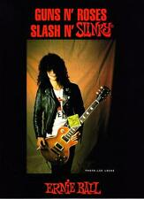 1989 Guns n' Roses Guitarist Slash photo Ernie Ball Guitar Strings print ad