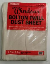 5 X WINDSOR BOLTON TWILL100% COTTON DUST SHEET  CLOSE WEAVE PROFESSIONAL SHEETS