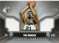 TIM DUNCAN 2005-06 UPPER DECK SPX WINNING MATERIALS GAME-USED WARM-UP CARD