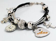 ANA Name Bracelet Heart Charm 18ct White Gold Plated Swarovski Elements Leather