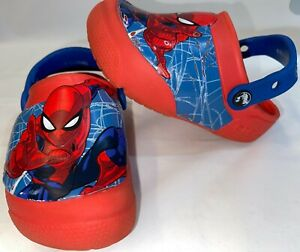 CROCS Toddler Boy's Size 10 SpiderMan Light Up Red Blue water shoes