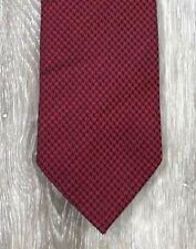 BEN SHERMAN Red Black Houndstooth Geometric Luxury 100% Silk Tie Necktie