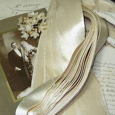 """20y HANK 3"""" ANTQ VTG IVORY WHITE SATIN WEDDING TRIM RIBBON DYEABLE EDWARDIAN HAT"""