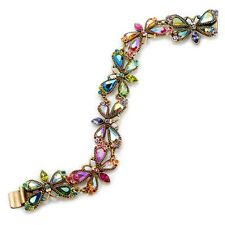 NEW SWEET ROMANCE CRYSTAL AURORA BOREALIS FIREFLIES LINK BRACELET ~MADE IN USA~~