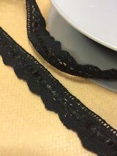 John Lewis Cotton Lace Ribbon inter weave crochet trim edging black x 1m 20mm