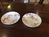 Antique Vintage English Floral Washington Booth China Pair Salad Dessert Plates