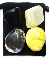 CLEANSING & DETOXIFICATION Tumbled Crystal Healing Set = 4 Stones + Pouch + Card