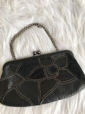 Fossil Kiss Lock Clutch Wristlet Wallet Purse Black Suede Leather Faux Snake