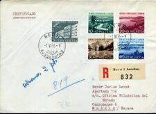 416374) Schweiz Pro Patria FDC Nr. 613-617, Einschreiben Bern 1955 n. Spanien