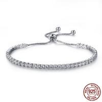 Genuine 925 Silver Pave CZ Charm bracelets with Cubic Zirconia for women Jewelry