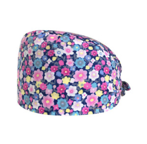Surgical Scrub Cap Hat With Buttons Ear Saver Floral Unisex Doctor Nurse New USA