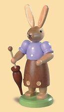 Mueller - Traditional German Easter Wooden Figurine - Bunny Rabbit with Umbrella