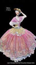Redressed Antique Porcelain Half Doll, Pincushion Dresser Doll, Artist signed