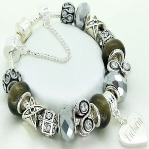 ENGRAVED Jewellery For Women Girls Grey Bracelet ANY NAME Personalised Gifts