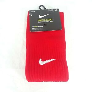Nike Dri Fit Soccer Cushioned Knee High Socks Red Women Size 6-10 //