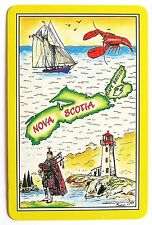 VINTAGE SWAP CARD. NOVA SCOTIA CANADA. LIGHTHOUSE, BAGPIPER, BOAT, LOBSTER. MINT