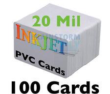 100 - Thin *20 mil* Inkjet PVC Cards - For Epson & Canon Inkjet Printers