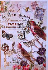 """12 Punch Studio FLERE DE TRIOMPHE PARIS BIRD NOTE CARDS.   6"""" X4"""".   GORGEOUS!"""