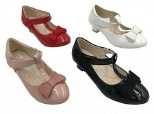 KIDS GIRLS CHILDRENS PARTY WEDDING LOW BLOCK HEEL STRAP BOW PATENT SHOES SIZE UK