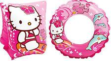 Hello Kitty Natación Manguitos y Anillo de Goma Diseño Rosa Brazaletes