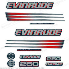 Evinrude 250hp Bombardier Outboard Decal Kit - Blue Cowl Engine 2002-2006