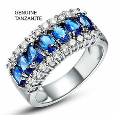 Genuine Tanzanite and White Topaz Ring in 18k White Gold Plated Ring